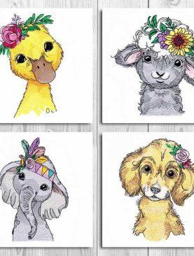 Детеныши животных в цветочных венках -Набор 1